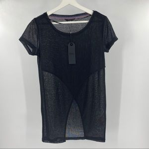 Only black sheer short sleeve top NWT